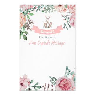 Some Bunny Floral Birthday Time Capsule Note Stationery