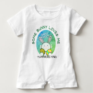 Some Bunny Loves Me Spring Easter Bunny Green Baby Bodysuit