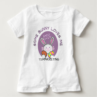 Some Bunny Loves Me Spring Easter Bunny Outfit Baby Bodysuit