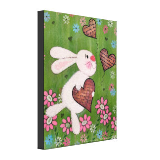 Some Bunny Loves You - 16x20 Easter Kids Wall Art Stretched Canvas Print