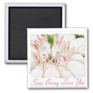 Some Bunny Loves You - White Rabbits Magnet