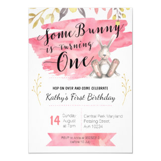 Some Bunny Pink First Birthday Invitation