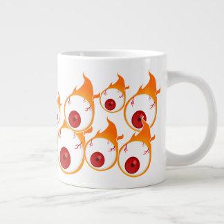 some flaming eyes large coffee mug