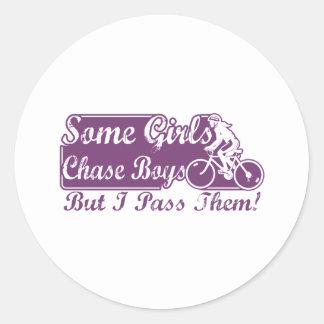 Some Girls Chase Boys I Pass Them Cycling Round Sticker