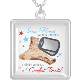 Some Heroes Wear Capes, Mine Wears Combat Boots Necklace