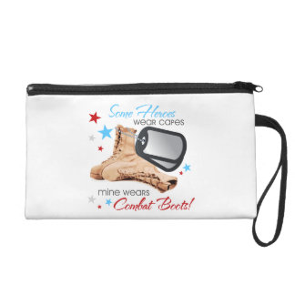 Some Heroes Wear Capes, Mine Wears Combat Boots Wristlet Purses