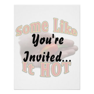 Some Like It Hot Hand One Habanero Pepper Personalized Invite