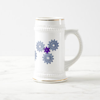 Some silver gears with a little purple beer steins