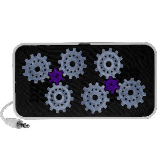 Some silver gears with a little purple mini speaker