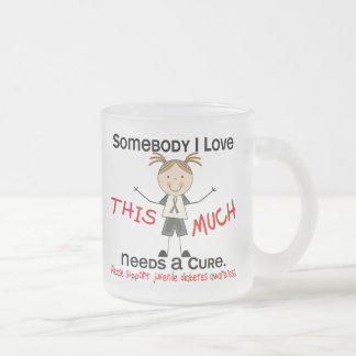 Somebody I Love - Juvenile Diabetes (Girl) Frosted Glass Coffee Mug