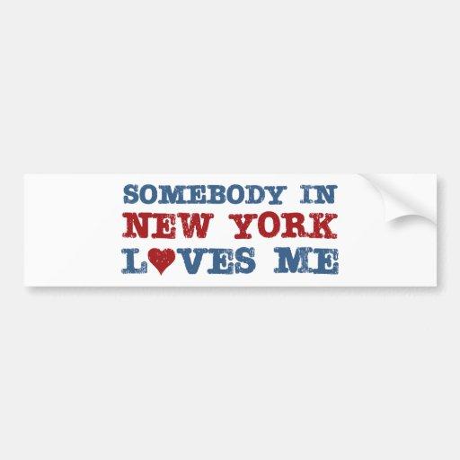 Somebody in New York Loves Me Bumper Stickers