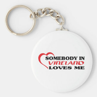Somebody in Vineland loves me t shirt Basic Round Button Key Ring
