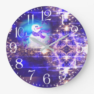 Somebody Loves You Emotional Snowman Distressed Large Clock