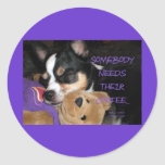 Somebody Needs Coffee Chihuahua Dog Round Stickers