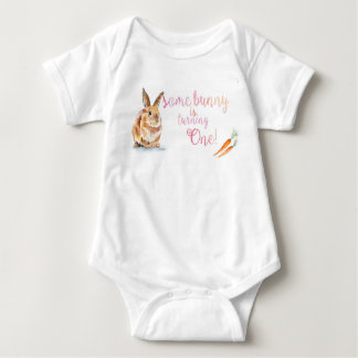 Somebunny is turning One Baby Outfit Baby Bodysuit