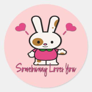 Somebunny Loves You/Me Round Sticker