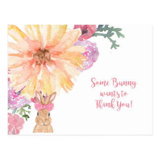 Somebunny Thank You Postcard - Birthday or Easter