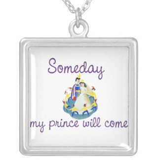 Someday my Prince will Come Square Pendant Necklace