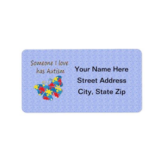 Someone I love has autism (multi) Address Label