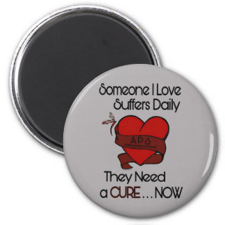 Someone I Love...Heart/Ribbon...APS 6 Cm Round Magnet