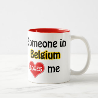 Someone in Belgium loves me Two-Tone Coffee Mug