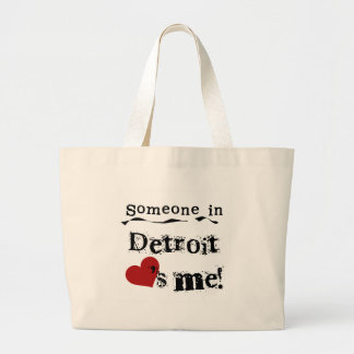 Someone in Detroit Canvas Bags