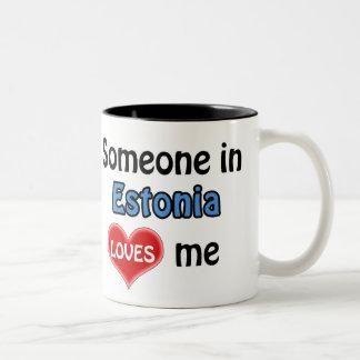 Someone in Estonia loves me Two-Tone Coffee Mug