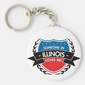 Someone In Illinois Loves Me Basic Round Button Key Ring