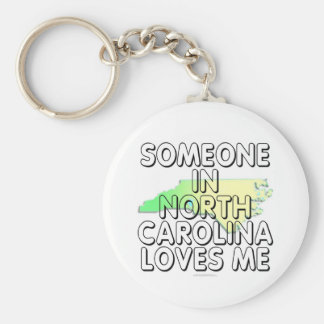 Someone in North Carolina loves me Basic Round Button Key Ring