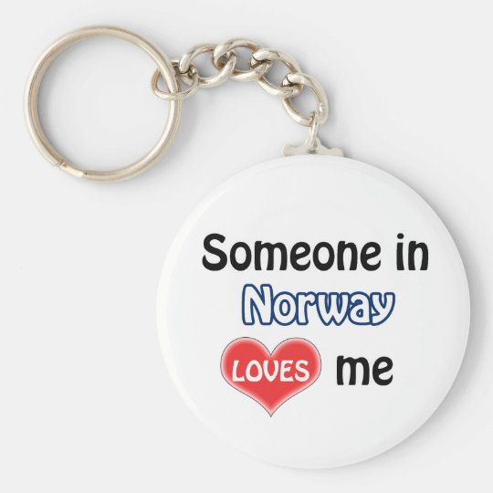 Someone in Norway Loves me Basic Round Button Key Ring