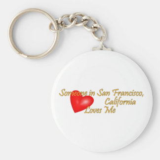 Someone in San Francisco Loves me Basic Round Button Key Ring