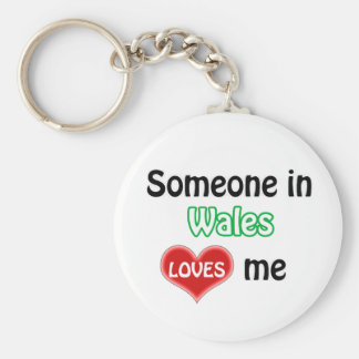 Someone in Wales Loves me Basic Round Button Key Ring