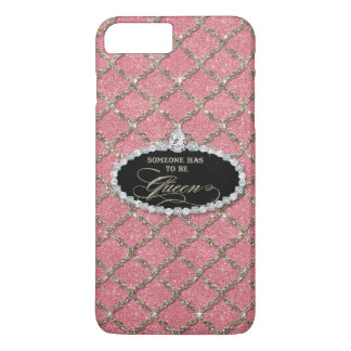 Someone Must be Queen, Quatrefoil Jewel Glitter iPhone 8 Plus/7 Plus Case