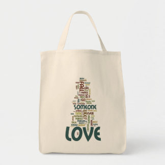 Someone to Love Word Cloud Grocery Tote Bag