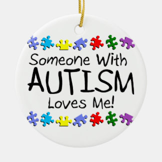 Someone with Autism Loves Me Autism Puzzle Christmas Ornament