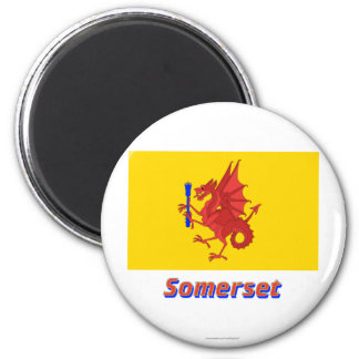 Somerset Flag with Name 6 Cm Round Magnet