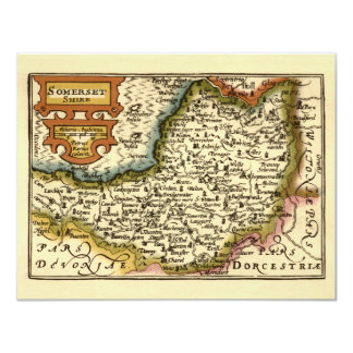 """""""Somersetshire"""" Somerset County Map, England 11 Cm X 14 Cm Invitation Card"""