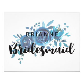 Something Blue Rose Will You Be My Bridesmaid Card