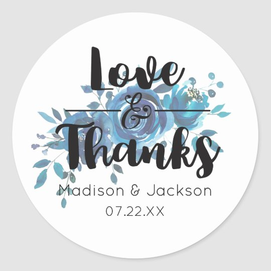Something Blue Watercolor Floral Wedding Favour Classic Round