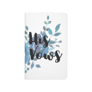 Something Blue Watercolor Floral Wedding His Vows Journals