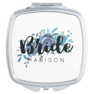 Something Blue Watercolor Rose Wedding Bride Compact Mirrors