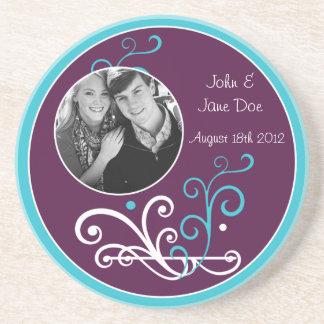 Something Blue Wedding Favor Memory Coaster
