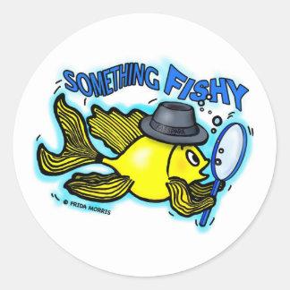 Something Fishy funny detective fish cartoon Card Round Sticker