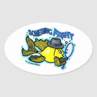 Something Fishy funny detective fish cartoon Card Oval Sticker
