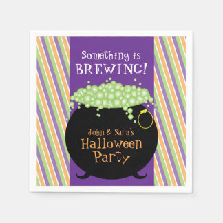 Something is Brewing, Personalized Halloween Party Paper Serviettes