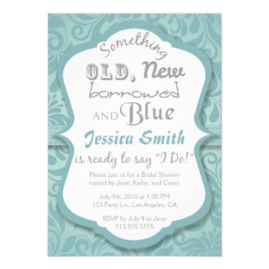Something Old New Borrowed Blue Bridal Shower Invitation Zazzle Co Uk