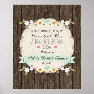 Something Old New Mint Boho Rustic Bridal Shower Poster