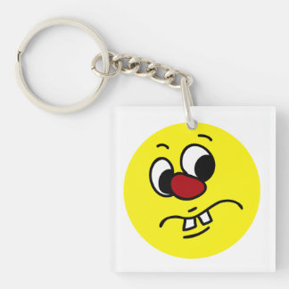 Something Stinky Smiley Face Grumpey Single-Sided Square Acrylic Keychain