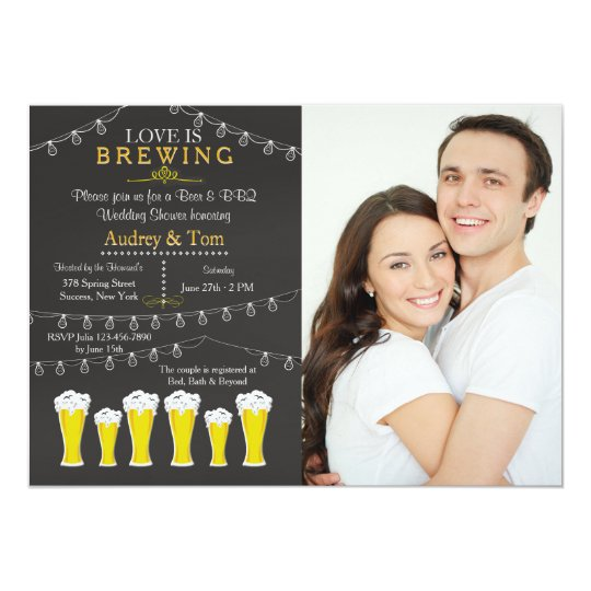 Something's Brewing Photo Wedding Shower Invitatio Card