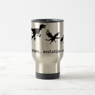 Sometimes, evolution sucks travel mug